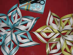 Supplies for Paper Snowflakes (LollyKnit) Tags: christmas paperart snowflakes scissors ornaments 3dpapersnowflake