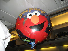 Happy Birthday ballooon on airplane