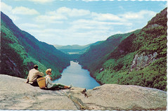 Ausable chain of lakes (Carl's Old Photos (@HoxsieAlbany)) Tags: girl vintage postcard lakes adirondacks chain postcards ausable bestpostcardever packbasket