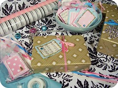 our Christmas gift wrapping table 2006! (holiday_jenny) Tags: christmas pink glitter gold sweet turquoise tags gifts presents wrappingpaper