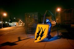 xmas lights (sgoralnick) Tags: xmas eve blue winter streetart art hat sign night crazy nightshot flash william signage colorsplash offcameraflash andyclymer