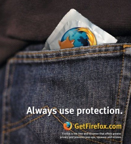 Firefox protection, condom ad