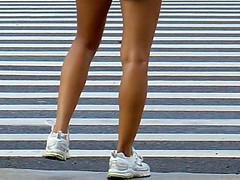 horizontal & vertical (Watari Goro 渡五郎) Tags: street light lines vertical horizontal contrast dark hawaii legs stripes sony cybershot opposites honolulu crosswalk runner v1