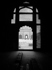 screen (randhirsingh) Tags: door city urban india abandoned monument sandstone muslim islam tomb agra mosque doorway fatehpur sikri mughal