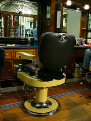 Barber Shop (Colour) (Craig Jewell Photography) Tags: old white haircut black monochrome leather comfortable contrast vintage hair groom mirror chair shiny cut retro clip grooming chrome barber era shave aged trim hairstyle trade polished greyscale hairstylist fashioned bygone cpj craigjewellphotography