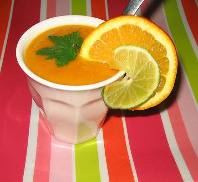 Soupe de carottes au coco