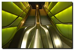 green illuminated escalators (Toni_V) Tags: city longexposure green beautiful wow d50 nice zurich great perspective illumination excellent escalators 1020mm 1020 sigma1020mm shopville rolltreppen toniv abigfave top20green diamondclassphotographer flickrdiamond superhearts toniv