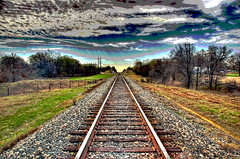 Tracks to the Sky Posterized (Jeff Clow) Tags: railroad bravo track texas searchthebest railway explore blended dfw hdr posterized photomatix abigfave photoshopelements50 ultimateshot