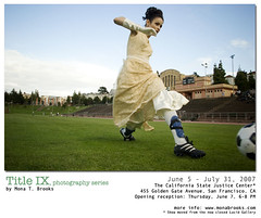 Title IX: Soccer (SFMONA) Tags: show sanfrancisco woman playing sports girl field grass fashion vintage gallery action soccer feminism concept ideal conceptual futbol lucid kezar june7 womenissues titleix anawesomeshot bouffont twofeetunder