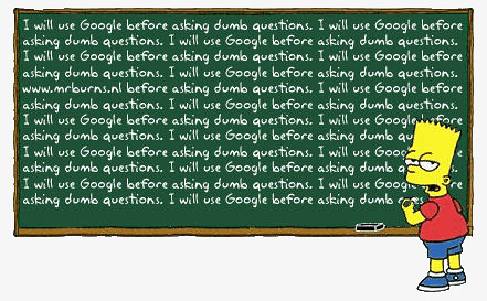 I will use Google before asking dumb questions; Usaré Google antes de preguntar tonterías