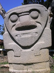 Carved Stone Face at San Agustin Archaeological Park Pre-Columbian statues Colombian