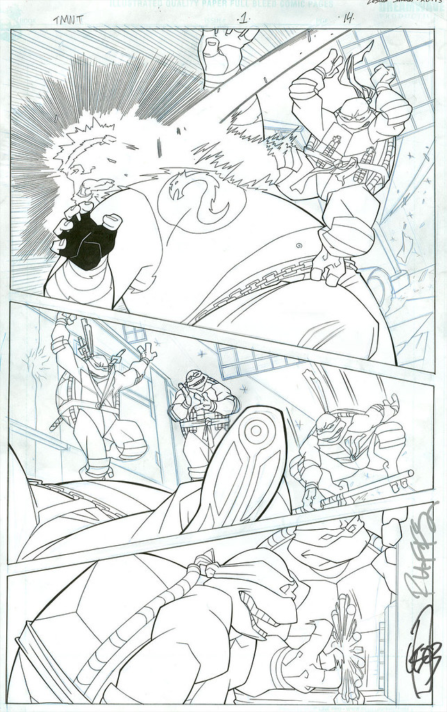 """Teenage Mutant Ninja Turtles"" { Animated } # 1 - Page 14  .. pencils/inks by LeSean  [ signed - LeSean Thomas & Rob Roffolo ] (( 2003 ))"