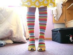 taste the rainbow (Lorena Cupcake) Tags: color feet socks rainbow shoes pattern legs stripes footwear heels kicks argyle shoegazer kneehighsocks longsocks kneehigh lowerhalf otks