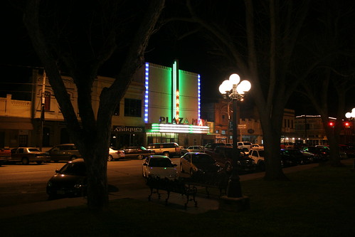 plaza theater lighting up wharton downtown square
