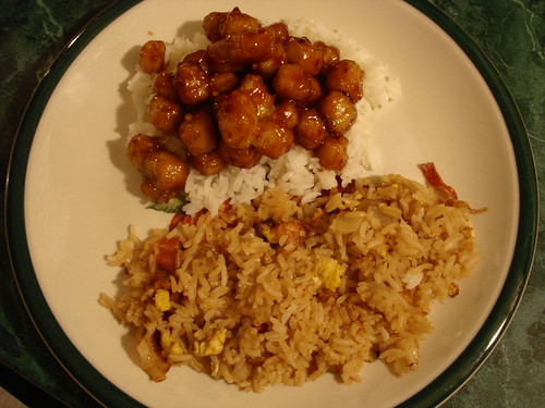 General Tso's tofu, jasmati rice, fried rice