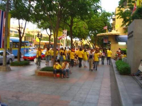 people in yellow shirts taking over Bangkok