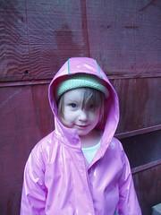 pretty in pink (Dairy Di) Tags: pink raincoat mayasmom