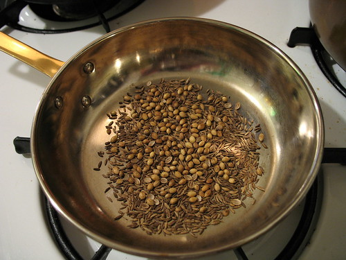 toasting coriander and cumin seeds