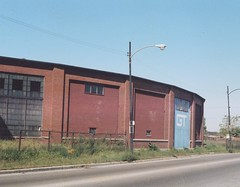 The GTW Elsdon Roundhouse located at west 49th Street and south Kedzie Avenue. Chicago Illinois USA. October 1983.