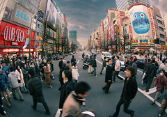 Akihabara, Japan (The Other Martin Tenbones) Tags: people electric japan tokyo town crossing walk fisheye 東京 akihabara akiba sreet hdr 秋葉原 p1f1