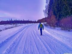 Снега на дороге вроде бы немного, но идти нелегко. Позади уже 12 километров пути.