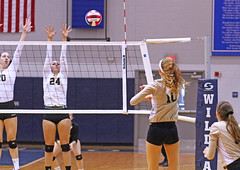 IMG_8104 (SJH Foto) Tags: girls volleyball high school york delone catholic team teen teenager net battle spike block action shot jump midair