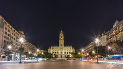 There He Stood, Surveying His Manor (Tim van Zundert) Tags: porto portugal câmara municipal town hall architecture building tower avenida dos aliados liberdade square city europe night evening long exposure light trails sony a7r voigtlander 21mm ultron