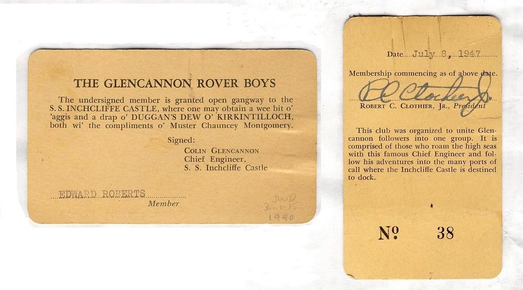 Membership Card for the Glencannon Rover Boys