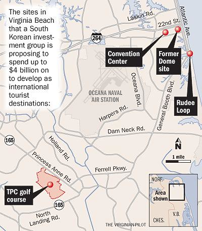 Map of proposed development in Virginia Beach