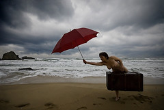 Divorce - Discovery (SoZeSoZe) Tags: life new blue sea sky woman cold green beach clouds dark sand alone divorce artlibre