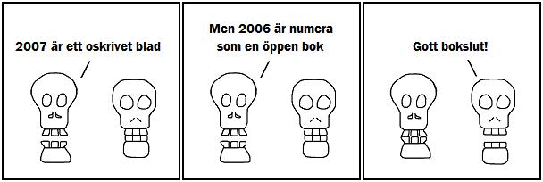 2007 är ett oskrivet blad; Men 2006 är numera som en öppen bok; Gott boksult!