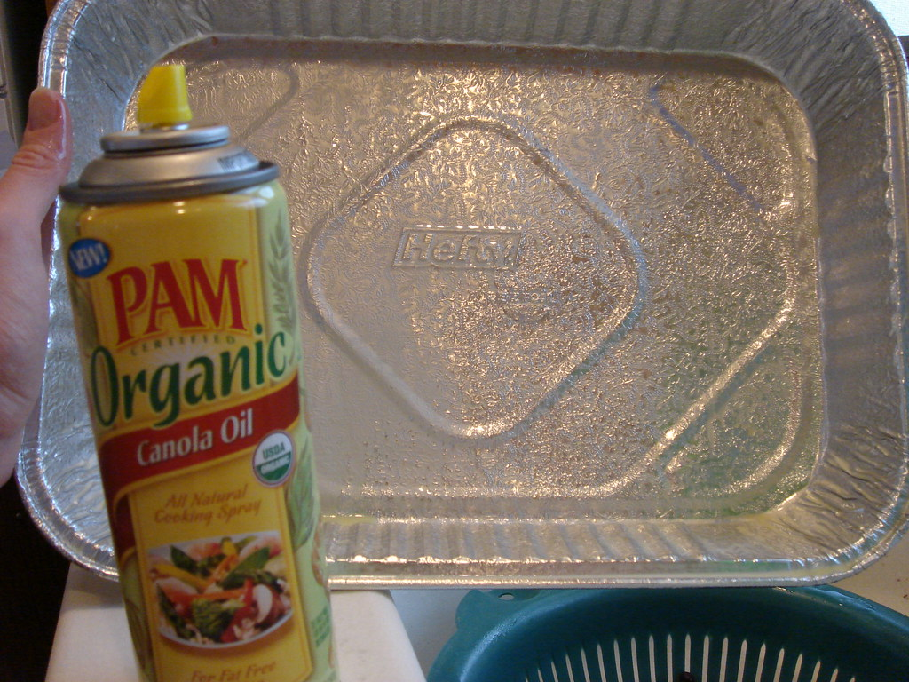 coat pan with cooking spray
