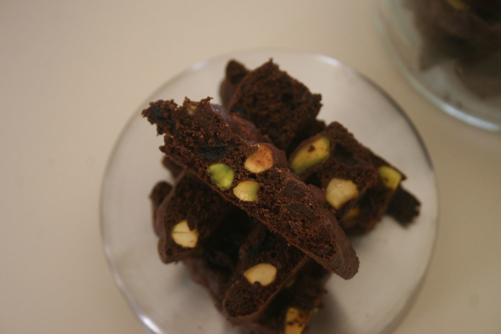 Chocolate cherry pistachio biscotti