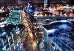 Manchester by night (Stevacek) Tags: longexposure night d50 lens manchester lights nikon hdr stevacek