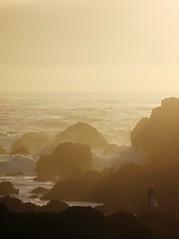 Pacific mist (quaelin) Tags: ocean wedding sunset mist canada water topv111 rock sepia rocks waves bc britishcolumbia vancouverisland ucluelet flickrsoupforthesoul seamist filteredlight fsftsblog topvaa canong7 mikeandjennswedding botopv0507