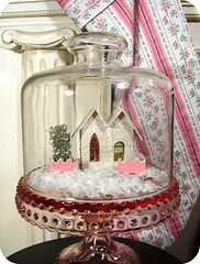 vintage cardboard glitter house and my favorite mini pink hobnail cake dome! (holiday_jenny) Tags: christmas pink house holiday glass cake glitter vintage cardboard dome hobnail