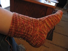 Modeled Cable & Eyelets sock