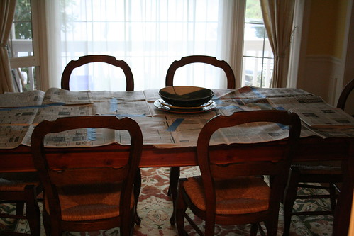 Paper-covered table