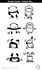 Panda Comic - Follow Me (Bubi Au Yeung) Tags: blackandwhite bw silly illustration fun sketch panda comic drawing bubi doodle followme thiscomicseriesisformydearfriendwoolloomooloobcshelovespanda