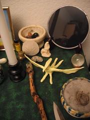 Right side of altar (Eelsalad) Tags: sculpture shrine wand flag altar statueofliberty cauldron athame feri starfinder blackmother stargoddess scryingmirror