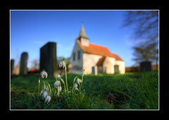 Wisley churchyard 27 Jan 2007 (strussler) Tags: england church canon eos sigma surrey snowdrops 5d hdr wisley 3xp tonemapped abigfave picswithframes