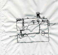 sewing of a sewing machine (d e b b i e) Tags: sewing machine fabric pfaff embroidered sewn
