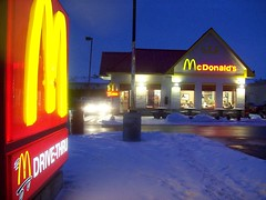 Fallowfield McDonald's at twilight. (Steve Brandon) Tags: city blue winter snow ontario canada cars geotagged lights restaurant evening twilight parkinglot dusk hiver ottawa fastfood mcdonalds cheeseburger hamburger drivethru suburbs neige autos bigmac nepean soir  automobiles ville drivethrough barrhaven goldenarches voitures mcdo fallowfield franchise nonluoghi electricblue  nonplace mcdrive  eggmcmuffin   nonlieux sausagemcmuffin