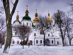 A Walk in the Snow (Stuck in Customs) Tags: snow church saint religious temple photography nikon photographer ukraine christian eastern kiev kyiv sophia hdr saintsophia ortodox highquality stsophia stuckincustoms treyratcliff focuspocus