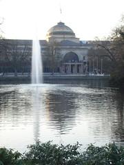 Park, pond, and fountain in Kurpark (mmaaggggiiee) Tags: fountain germany pond wiesbaden kurpark