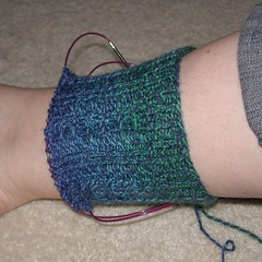 Blue cable sock WIP.JPG