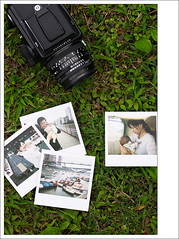 hasselblad with polaroid photos
