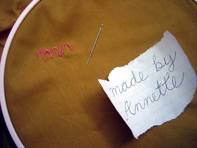 Embroidery for the quilt tag