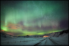 Its Written In The Stars (LalliSig) Tags: road winter cold rural dark stars landscape iceland cool frost nightscape path highcontrast aurora borealis impressedbeauty