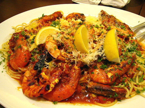 Greek style shrimp pasta